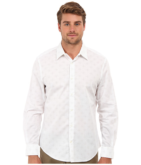 Perry Ellis - L/S Diamond Print Shirt (Bright White) Men