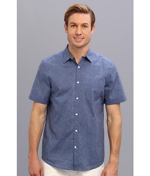 Perry Ellis - Slim Fit S/S Mini Square Print Shirt (Mykonos Blue) Men's Short Sleeve Button Up
