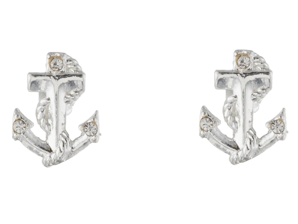 Betsey Johnson - Anchor Stud Earrings (Crystal/Rhodium) Earring
