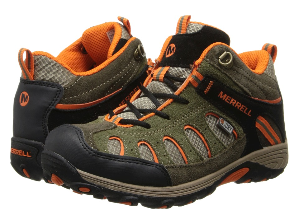 Merrell Kids - Chameleon Mid Lace Waterproof (Little Kid) (Olive/Orange) Boys Shoes