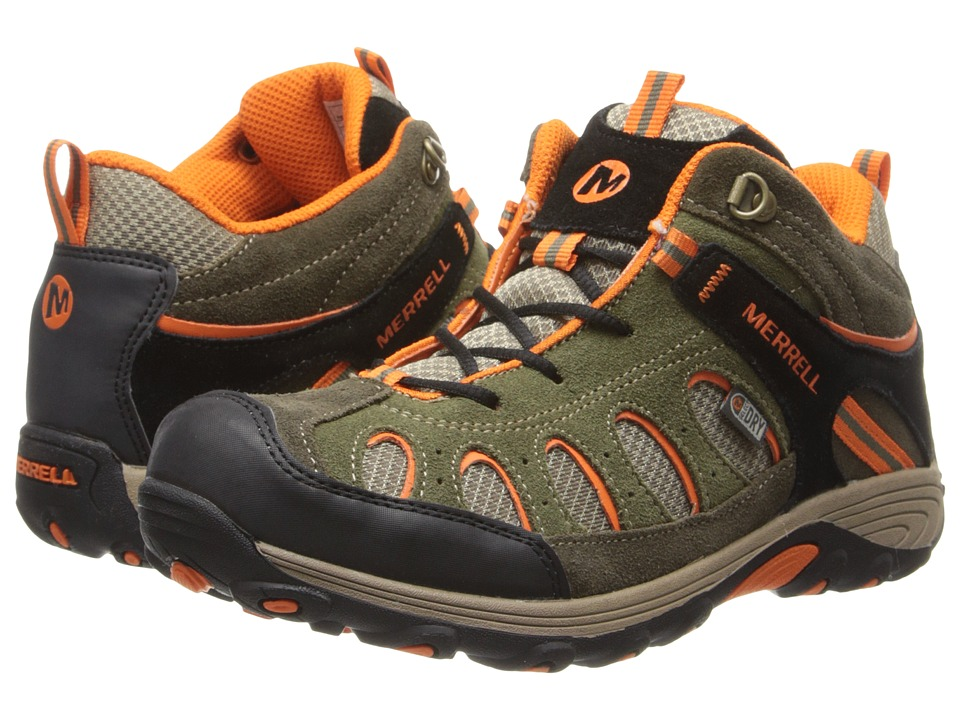 Merrell Kids - Chameleon Mid Lace Waterproof (Big Kid) (Olive/Orange) Boys Shoes