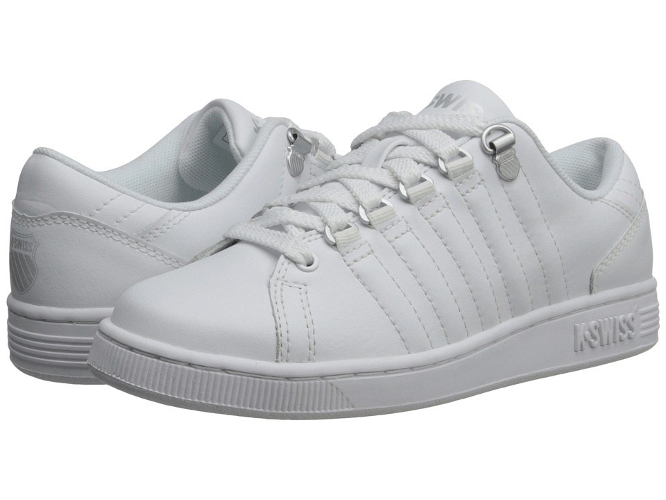 K-Swiss Kids - Lozan Varsity (Big Kid) (White/White/Silver) Kid's Shoes