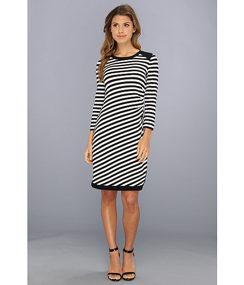 Donna Morgan - Striped Jersey Sheath with Zipper Detail on Shoulder (Black/Ivory) Women