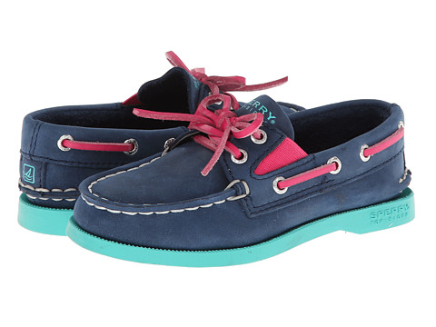 Sperry Top-Sider Kids - A/O Slip On (Toddler/Little Kids) (Navy/Pink/Turquoise Leather) Girls Shoes