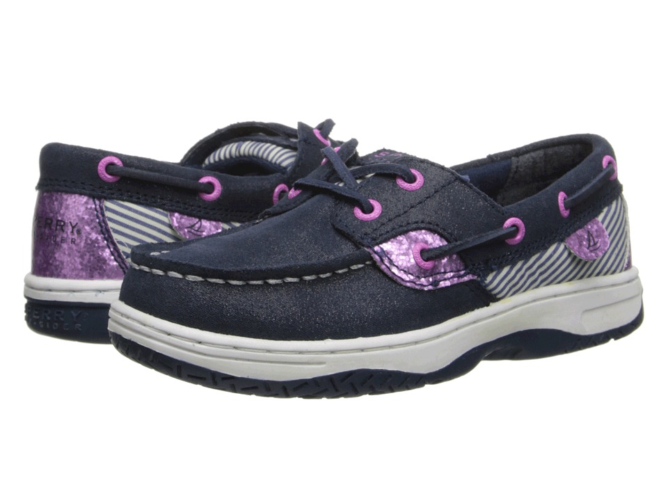 Sperry Top-Sider Kids - Bluefish (Little Kid/Big Kid) (Navy/Pink Leather) Girls Shoes