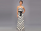 Adrianna Papell Ribbon Striped Ball Gown w/ Sash (Black/Ivory)