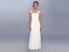 Adrianna Papell Beaded Gown w/ Cap Sleeve and Envelope Back (Ivory)
