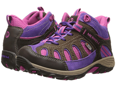 Merrell Kids - Chameleon Mid Lace Waterproof (Little Kid) (Brown/Pink) Girls Shoes