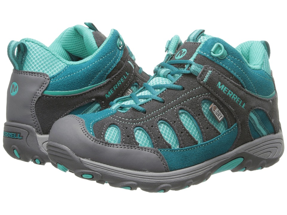 Merrell Kids - Chameleon Mid Lace Waterproof (Little Kid) (Grey/Turquoise) Girls Shoes