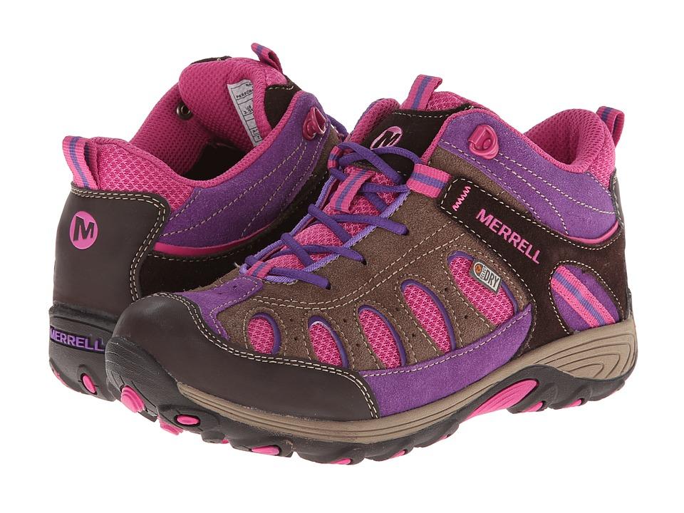 Merrell Kids Chameleon Mid Lace Waterproof (Big Kid) (Brown/Pink) Girls Shoes