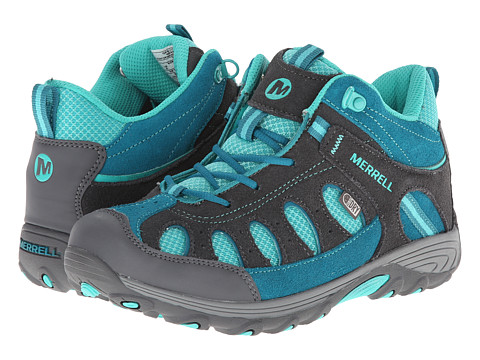 Merrell Kids - Chameleon Mid Lace Waterproof (Big Kid) (Grey/Turquoise) Girls Shoes