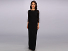 Adrianna Papell Long Sleeve Lace Gown (Black)