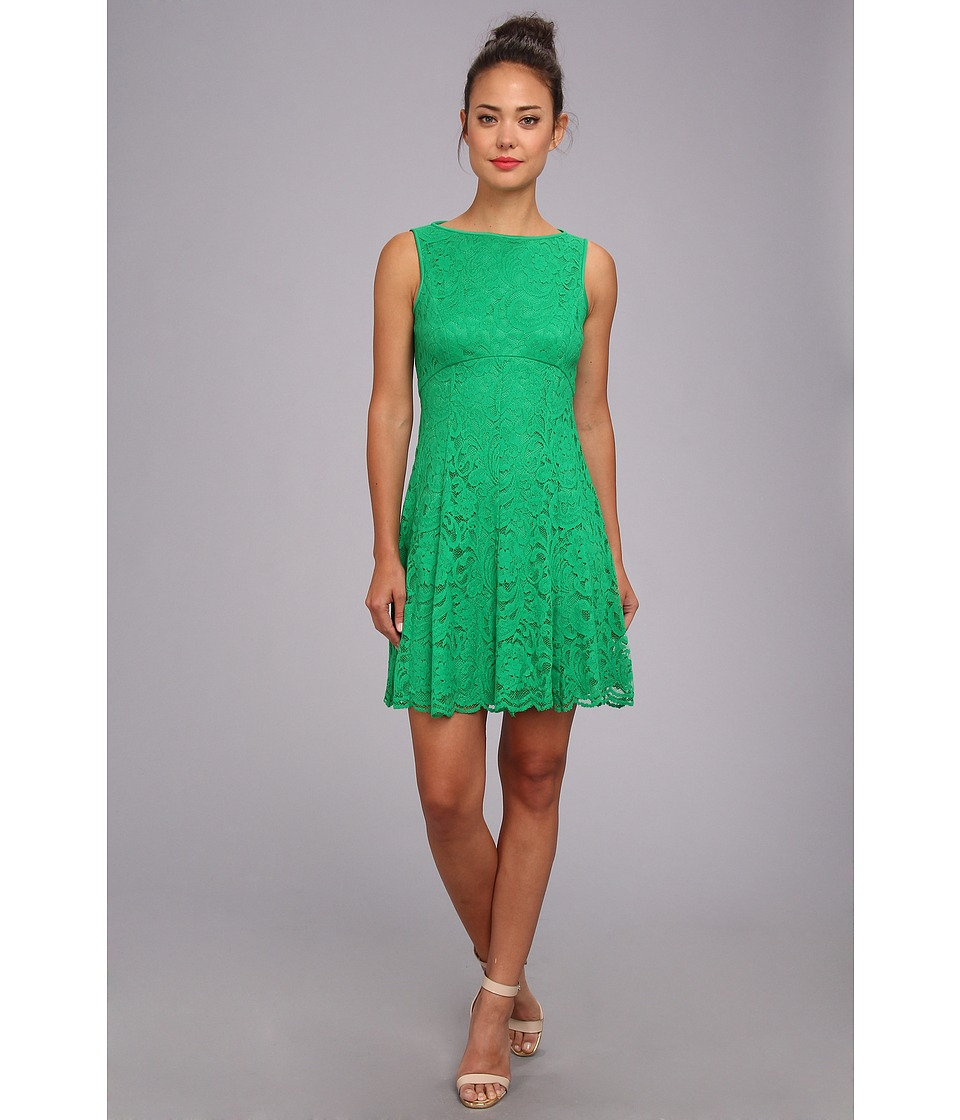 Maggy London - Lace Open Back Fit And Flare Dress (Green Bean) Women's Dress