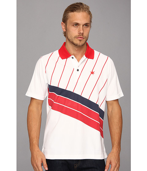 Boast - Printed Court Polo (White/Red) Men's Short Sleeve Pullover