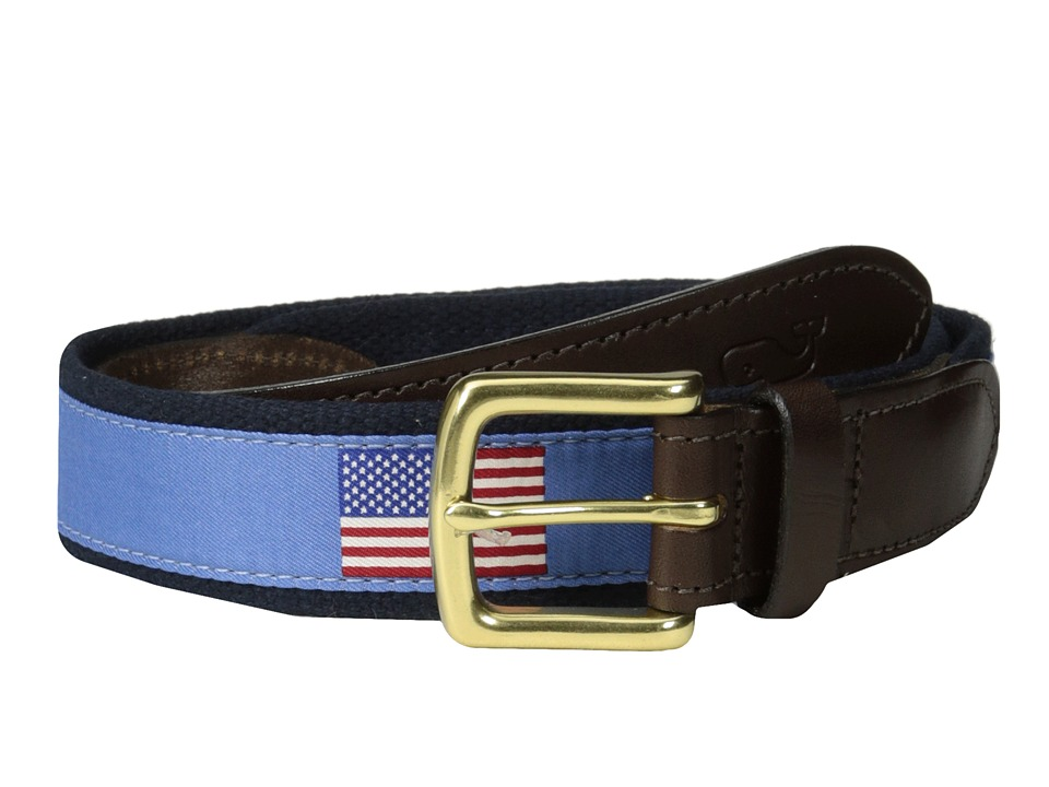 Vineyard Vines - American Flags Canvas Club Belt (Royal Blue) Men's Belts