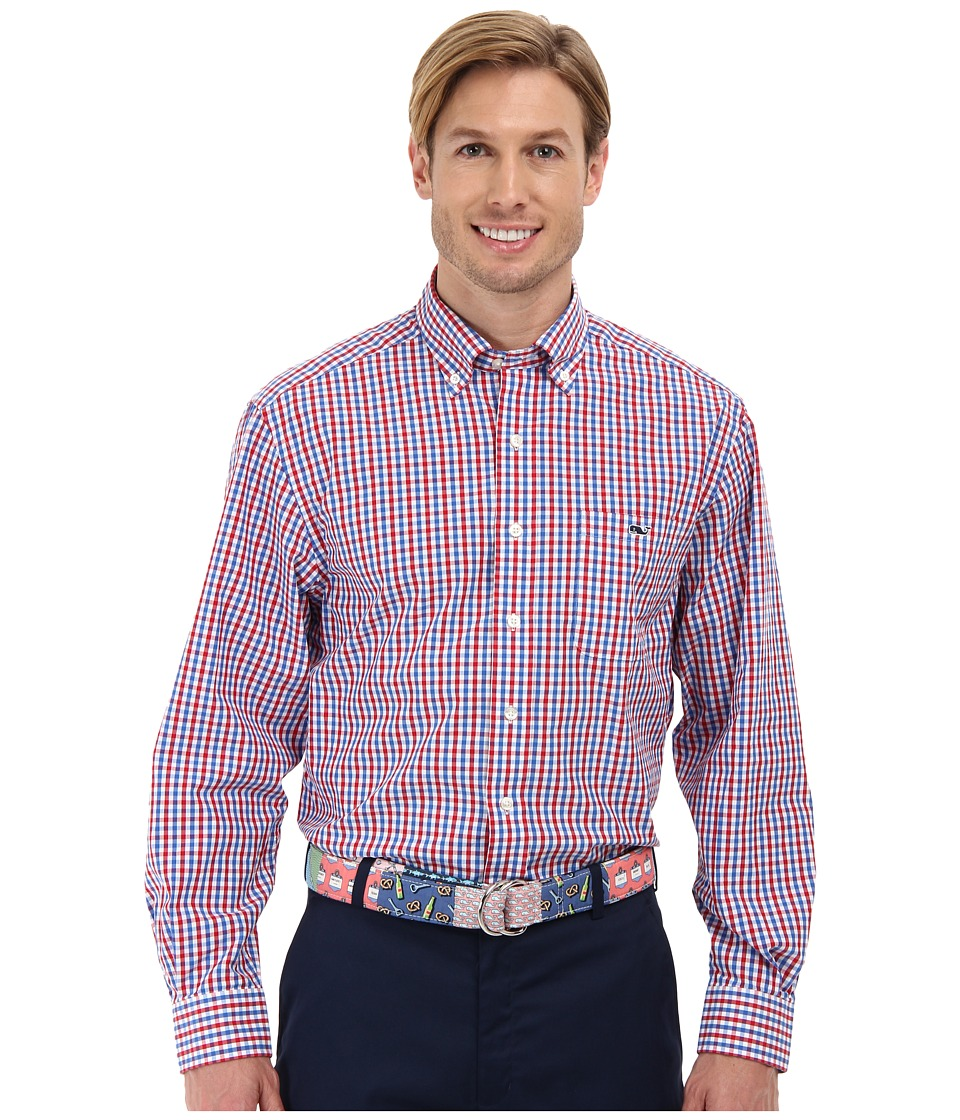 Vineyard Vines - Tucker Shirt-Bailey's Bay Tattersall (Patriot Red) Men's Long Sleeve Button Up