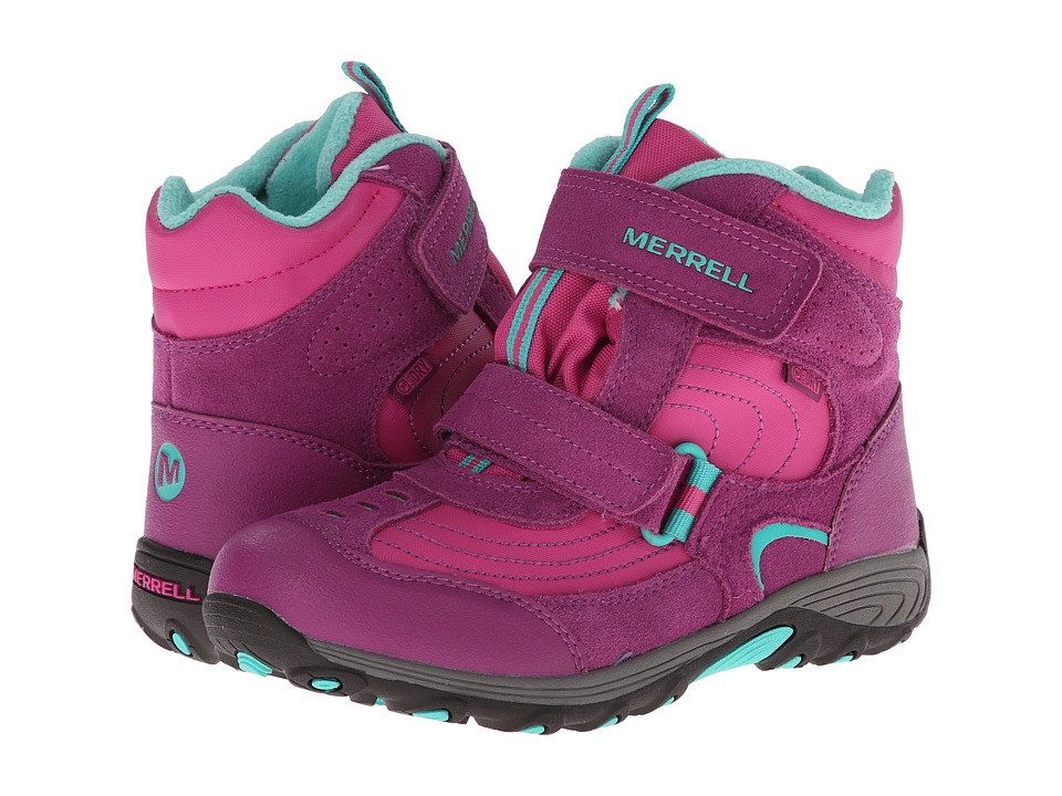 Merrell Kids - Moab Polar Mid Strap 2.0 Waterproof (Big Kid) (Pink/Berry) Girls Shoes