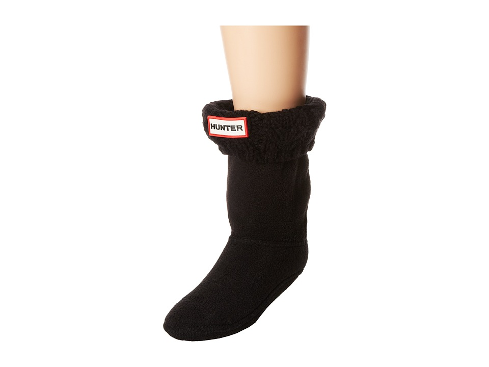 Hunter - Dual Cable Knit Boot Sock (Toddler/Little Kid/Big Kid) (Black) Crew Cut Socks Shoes