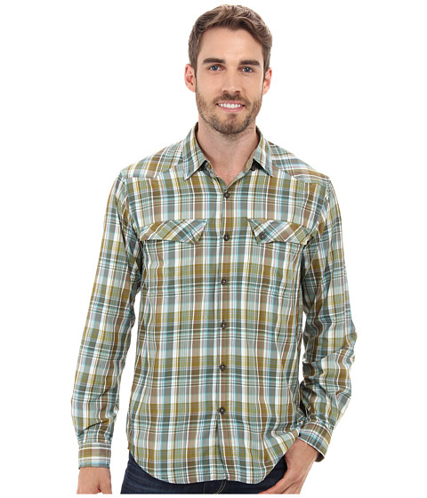 ExOfficio - Minimo Plaid Long Sleeve Top (Petrol) Men's Clothing