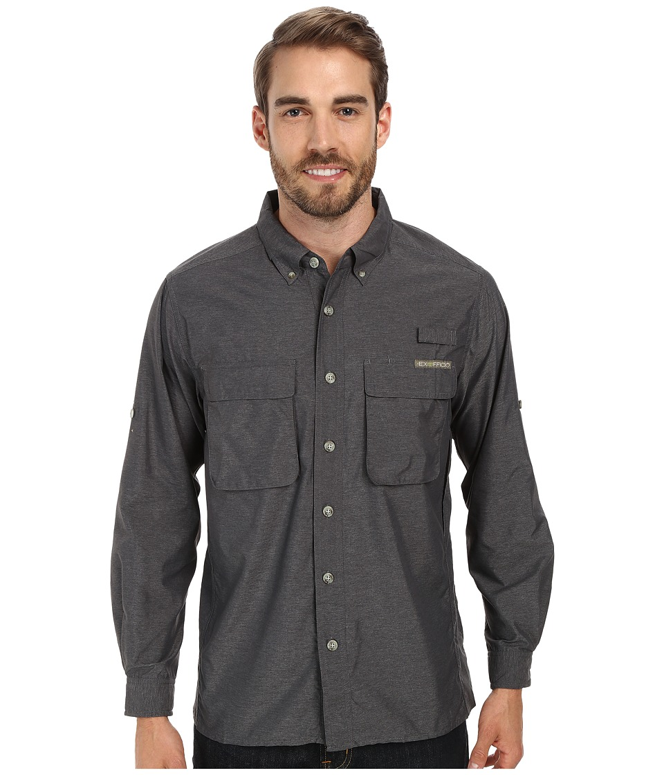 ExOfficio - Air Strip Long Sleeve Top (Dark Pebble) Men's Long Sleeve Button Up