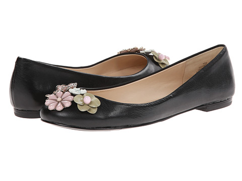Shop Nine West online and buy Nine West Okeanos Black Leather Shoes - Nine West - Okeanos (Black Leather) - Footwear: Add some floral design to your casual look with the lovely Okeanos flat. ; Leather upper adorned with floral accents. ; Easy slip-on silhouette. ; Smooth man-made lining. ; Lightly padded footbed. ; Man-made outsole. ; Imported. Measurements: ; Heel Height: 1 2 in ; Weight: 5 oz ; Product measurements were taken using size 7.5, width M. Please note that measurements may vary by size.