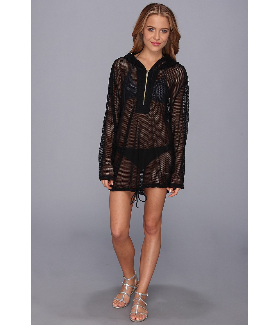 Vince Camuto - Glamorous Outdoors Hoodie Cover Up (Black) Women's Swimwear