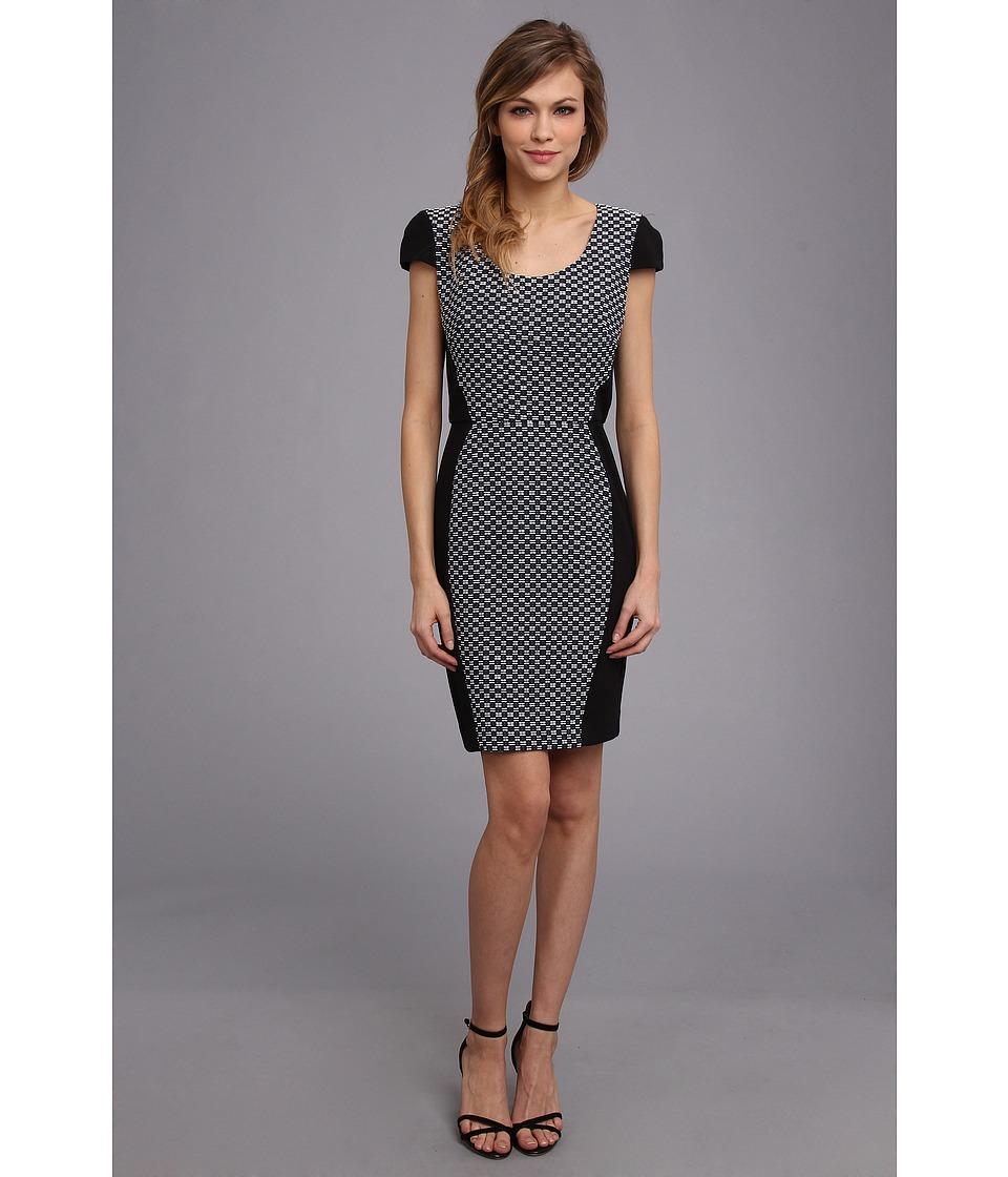 DKNYC - Geo Jacquard Cap Sleeve Dress w/ Ponte Piecing (Eclipse) Women's Dress