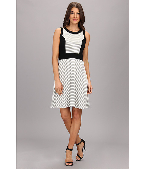 Karen Kane - Contrast Panel Dress (Black/White) Women