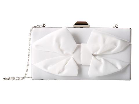 Jessica McClintock - Boxy Bow Minaudiere (White) Handbags