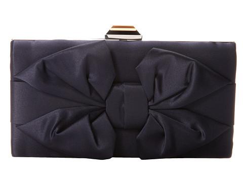 Jessica McClintock - Boxy Bow Minaudiere (Navy) Handbags
