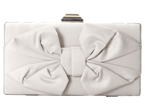 Jessica McClintock - Boxy Bow Minaudiere (Silver) Handbags