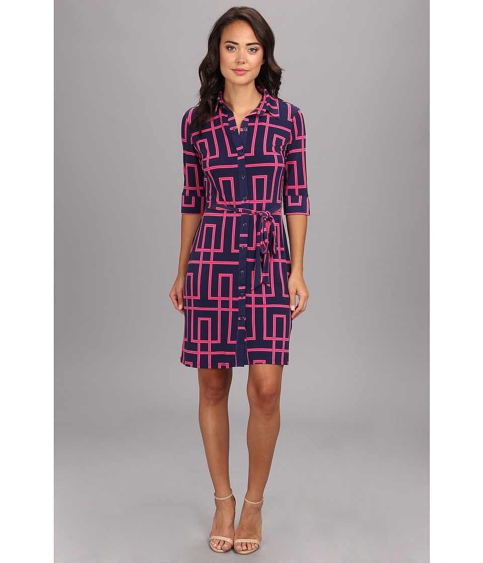 Maggy London Elbow Sleeve Puzzle Geo Shirt Dress Womens Dress (Navy)