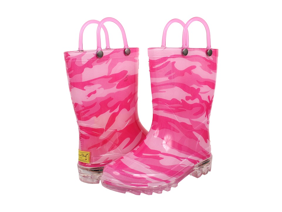 Western Chief Kids - Camo Lighted Rain Boot (Toddler/Little Kid) (Fuchsia) Girls Shoes