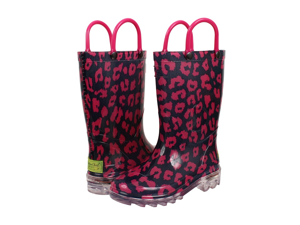 Western Chief Kids Wild Cat Lighted Rain Boot (Toddler/Little Kid) (Navy) Girls Shoes