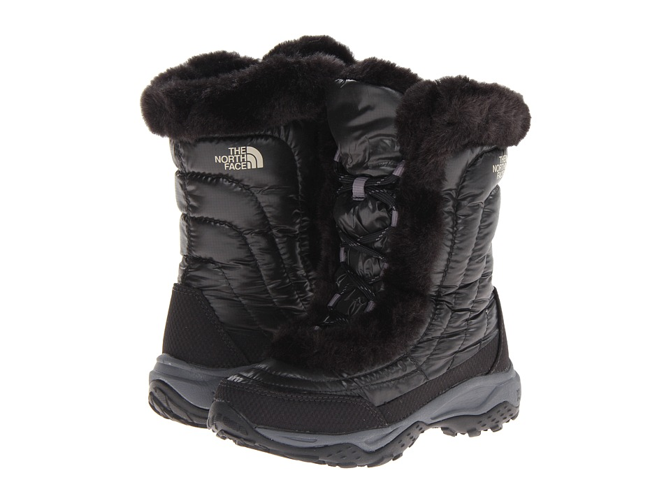 The North Face Kids - Nuptse Faux Fur II (Toddler/Little Kid/Big Kid) (Shiny Black/Black) Girls Shoes