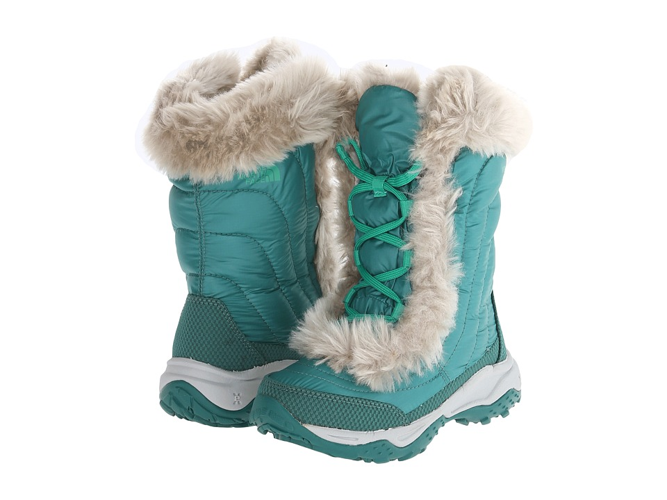 The North Face Kids - Nuptse Faux Fur II (Toddler/Little Kid/Big Kid) (Shiny Tidepool Green/Bastille Green) Girls Shoes