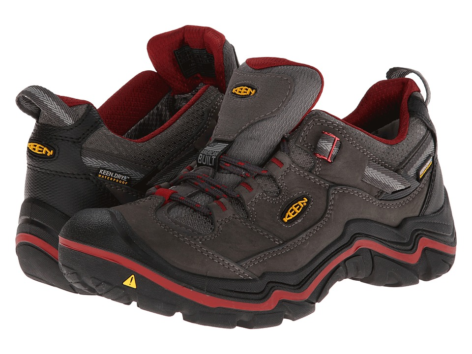 Keen - Durand Low WP (Magnet/Red Dahlia) Women's Hiking Boots