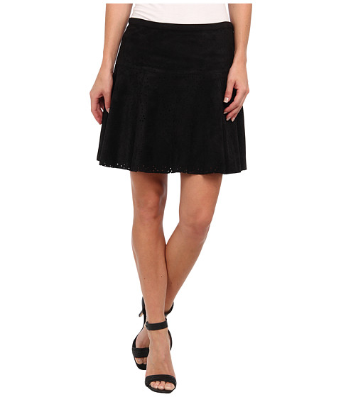 BCBGMAXAZRIA - Lucy Faux Suede Perf Aline Skirt (Black) Women's Skirt
