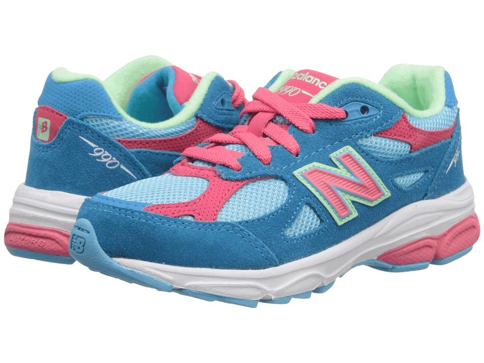 New Balance Kids - 990v3 (Little Kid) (Blue/Pink) Girls Shoes