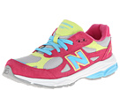 New Balance Kids 990v3 (Big Kid) (Silver/Pink)