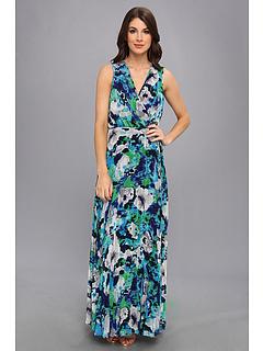 SALE! $89.99 - Save $88 on Donna Morgan Chiffon Pleated Maxi (Azure Multi) Apparel - 49.44% OFF $178.00