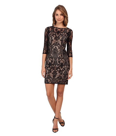 Adrianna Papell - All Over Deco Lace Sheath (Black) Women