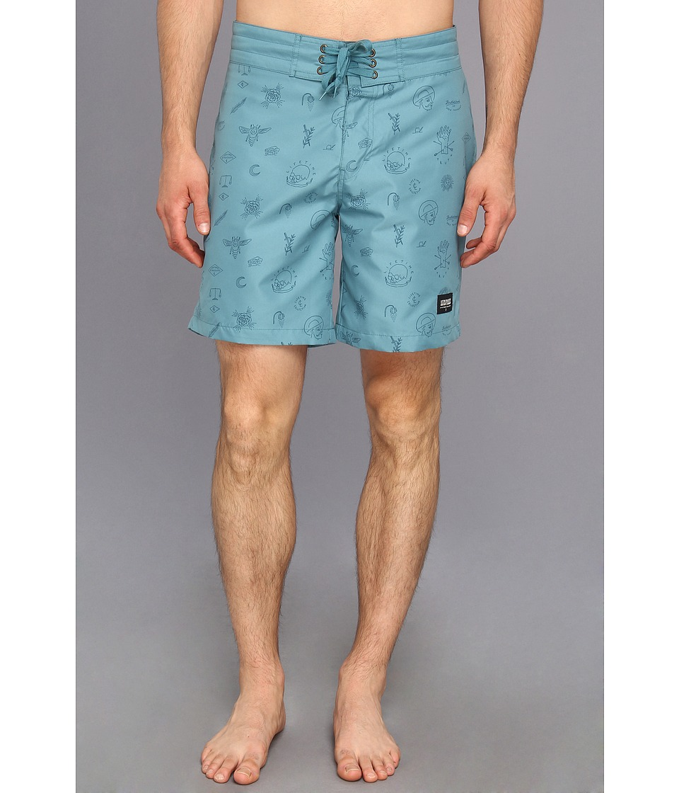 Lifetime Collective - Free Thinkers Boardshort Printed Boardshort 18 (Stormy Blue) Men's Swimwear