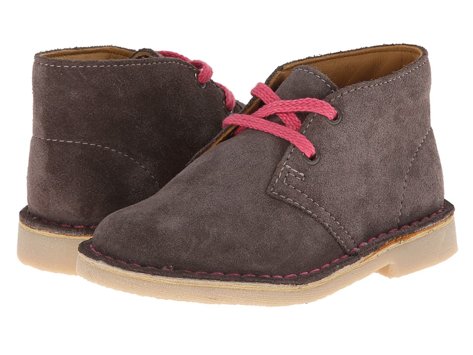 Clarks Kids - Desert Boot (Toddler) (Grey Suede) Girls Shoes