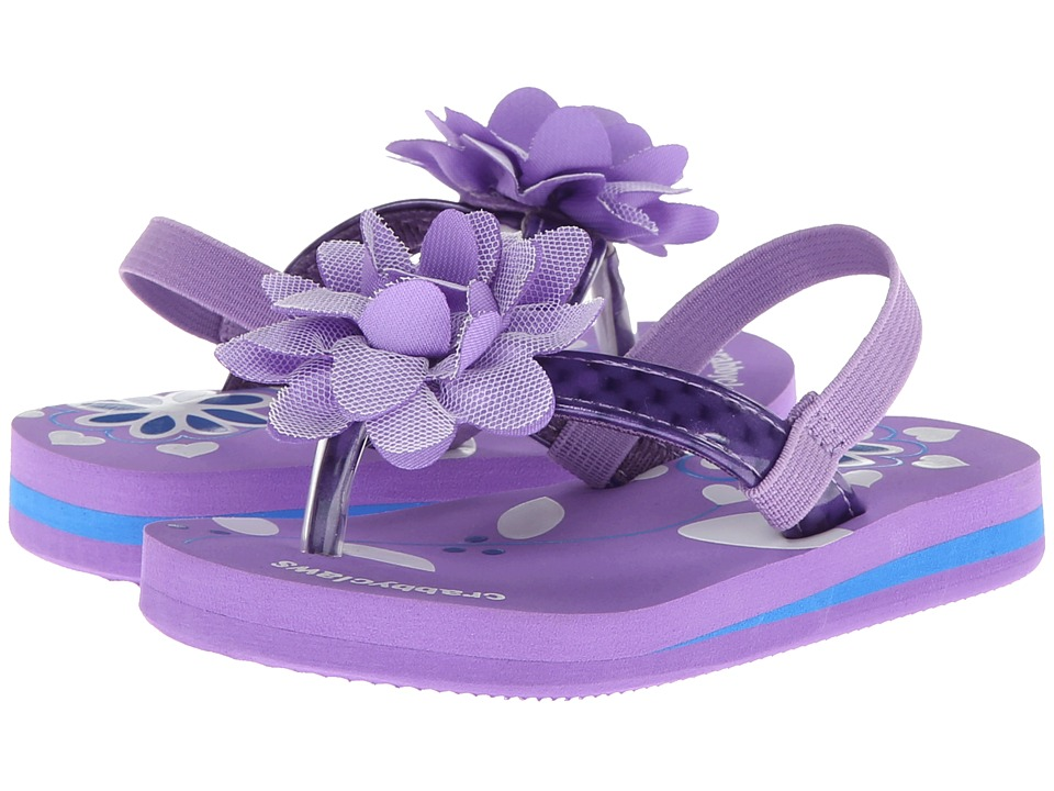 Crabbyclaws - Flower (Toddler/Little Kid/Big Kid) (Purple Patent) Girl's Shoes