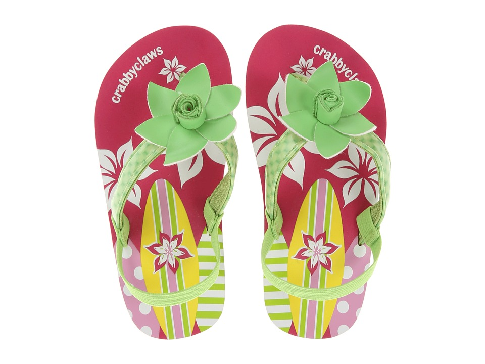 Crabbyclaws - Surfboard (Toddler/Little Kid/Big Kid) (Lime Patent) Girl's Shoes