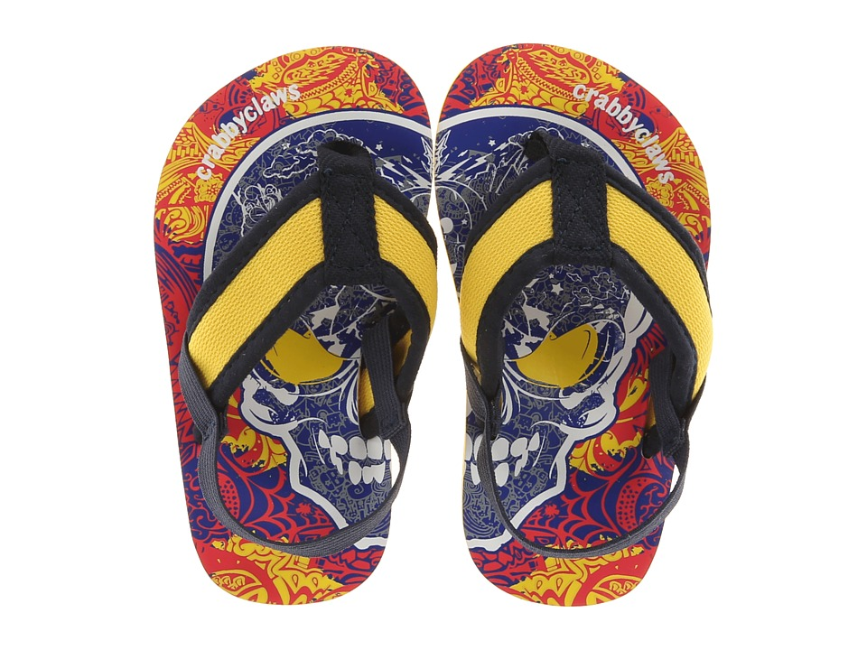 Crabbyclaws - Skull (Toddler/Little Kid/Big Kid) (Yellow/Navy) Boy's Shoes