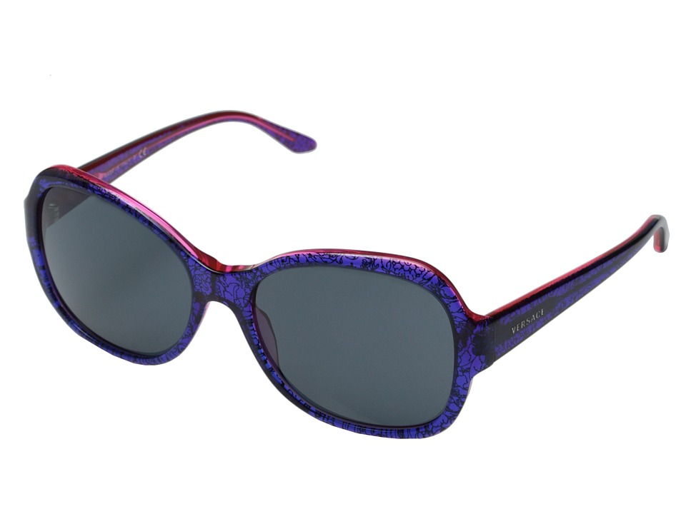 Versace - VE4259 (Baroque Blue/Grey) Fashion Sunglasses
