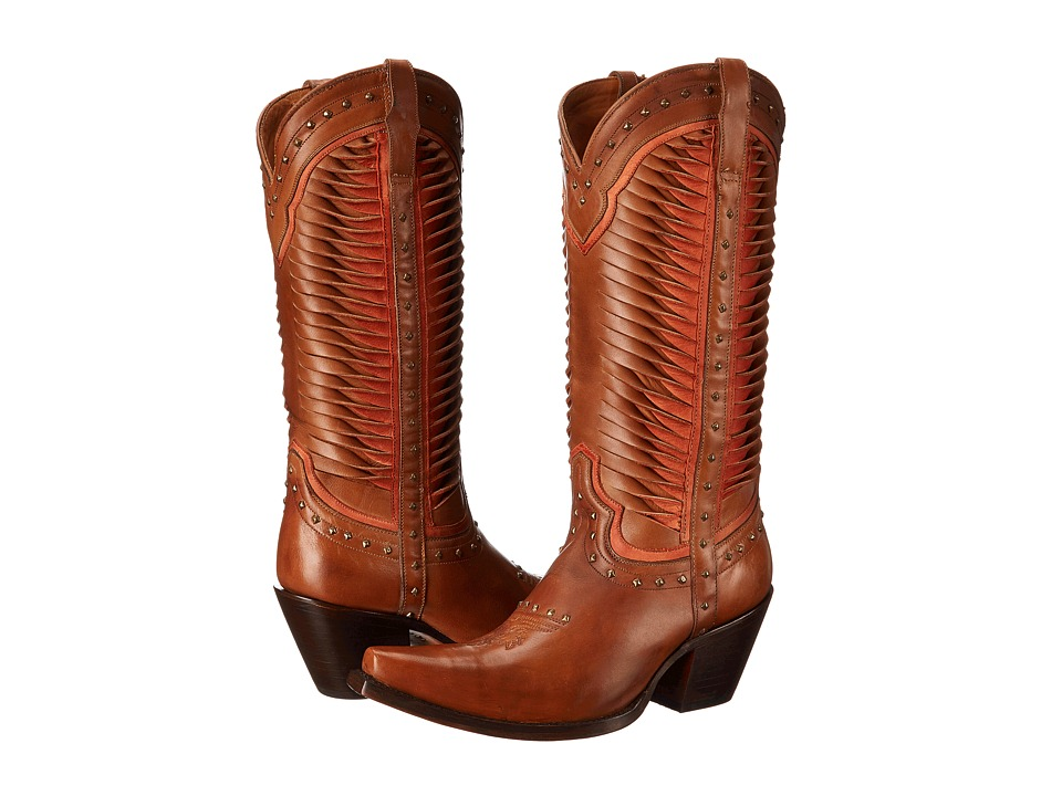 Lucchese - M4873 (Twisted Leather Tan/Coral) Cowboy Boots
