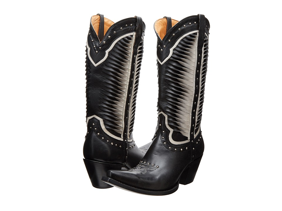 Lucchese - M4872 (Twisted Leather White/Black) Cowboy Boots